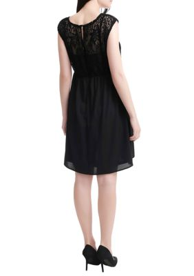 Kimi & Kai Maternity Genevieve Lace Skater Dress Black 05N12