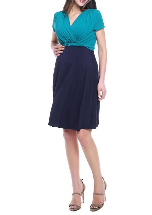 Maternity Sarah Faux Wrap  Nursing Dress