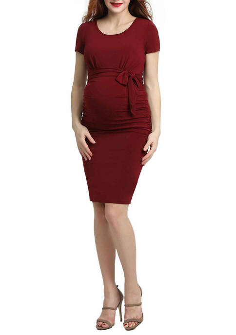 Maternity Lana Ruched Belted Dress