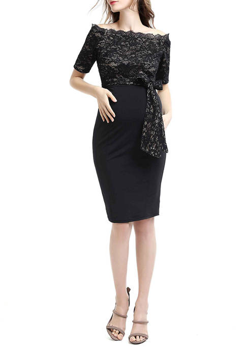 Maternity Madeline Off Shoulder Midi Dress