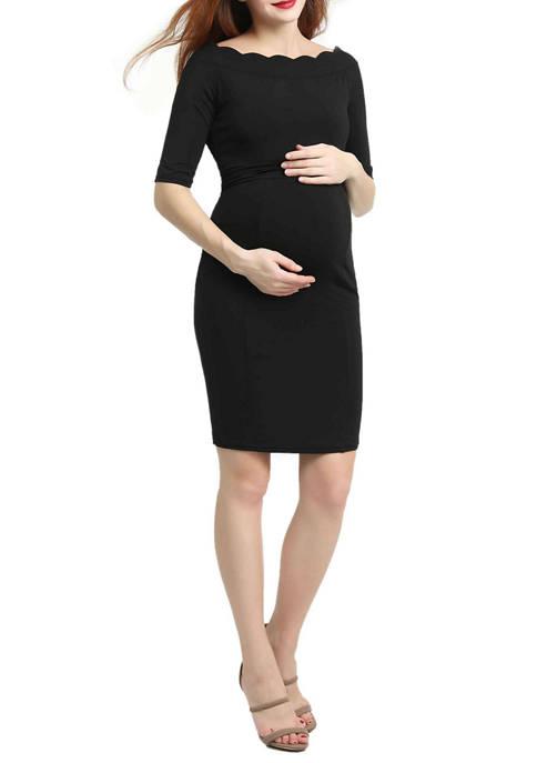 Kimi & Kai Maternity Kendall Scallop Trim Midi