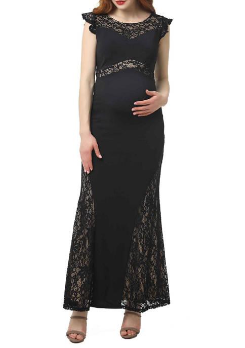 Kimi & Kai Maternity Audrey Lace Accent Maxi