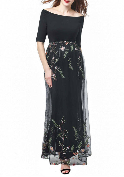 Kimi & Kai Maternity Willow Embroidered Mesh Maxi