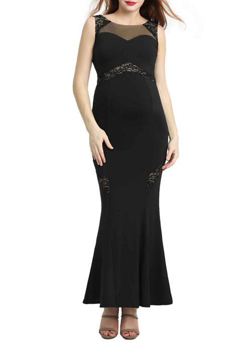 Maternity Corrine Lace Accent Mermaid Maxi Dress