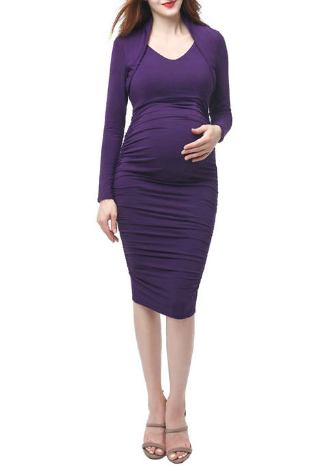 Maternity Viola Shawl Collar Midi Dress