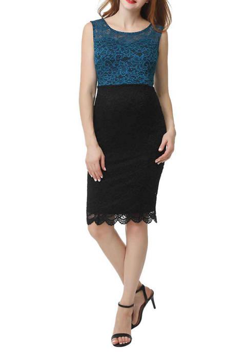 Maternity Luna Color Block Lace Midi Dress