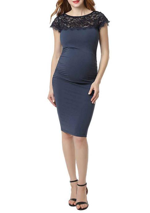 Kimi & Kai Maternity Morgan Lace Trim Bodycon
