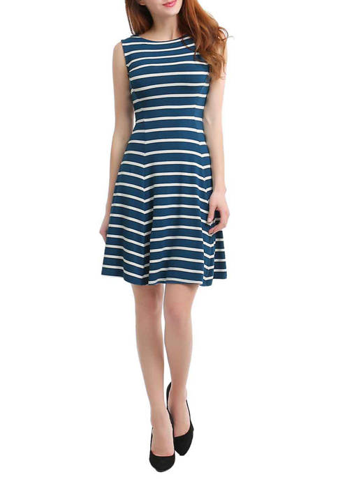 Womens Striped Fit and Flare Dress
