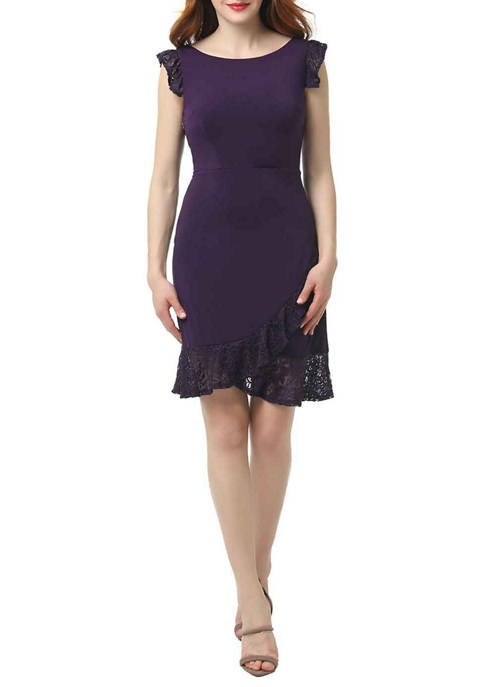 Womens Lace Ruffle Fit and Flare Dress