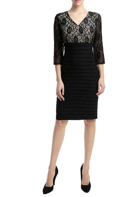 Womens 3/4 Sleeve Lace Sheath Dress