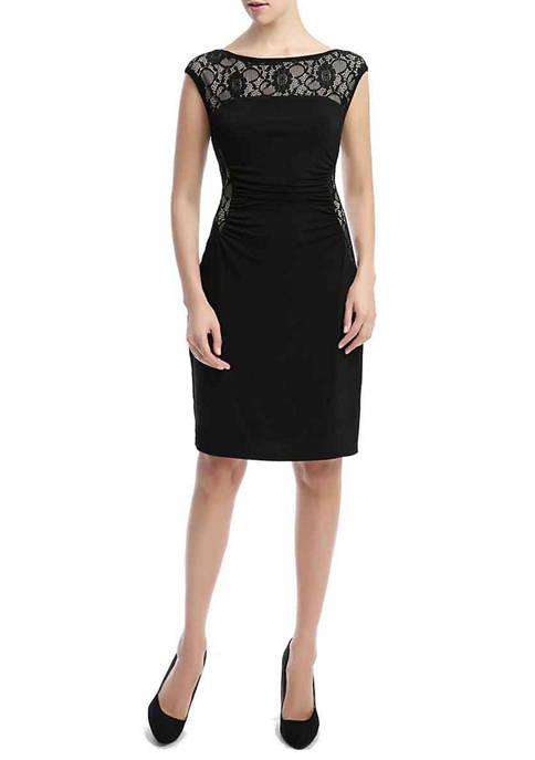 Kimi & Kai Womens Lace Trim Sheath Dress