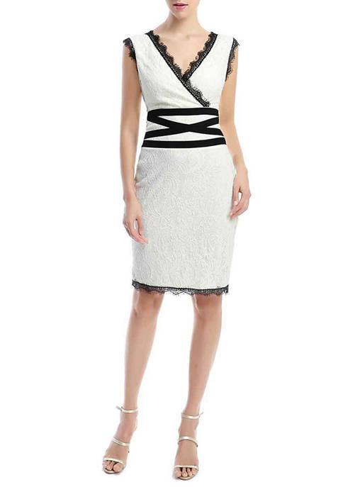 Kimi & Kai Womens Lace Sheath Dress