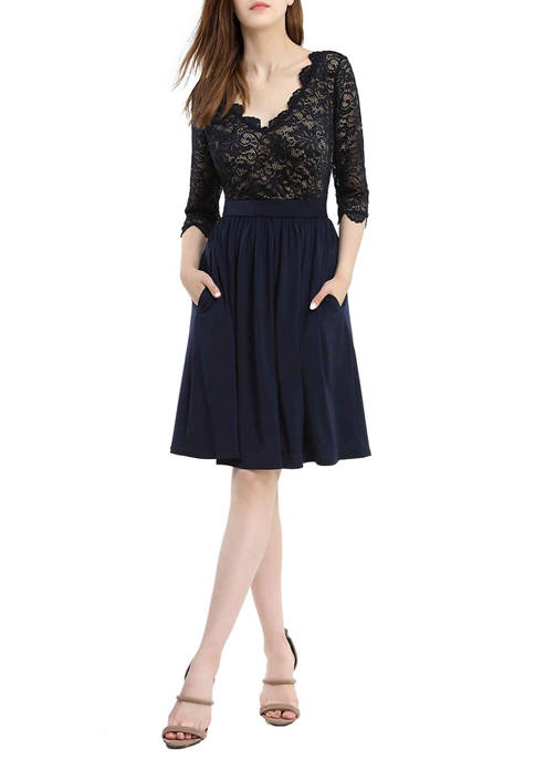 Womens Lace Fit and Flare Dress