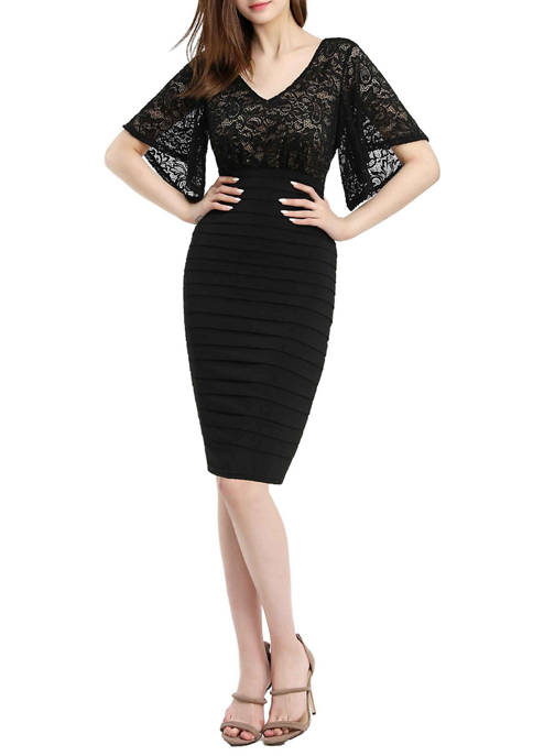 Womens Bell Sleeve Lace Sheath Dress