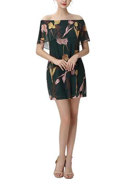 Briar Floral Print Off-the-Shoulder Chiffon Dress