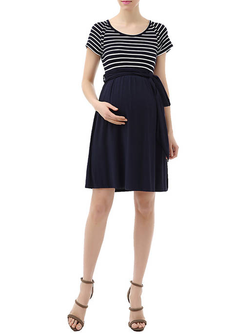 Kimi & Kai Maternity Scoop Neck Striped Belted