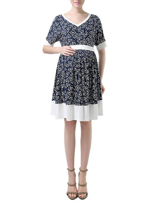 Kimi & Kai Maternity Batwing Sleeve Printed Dress