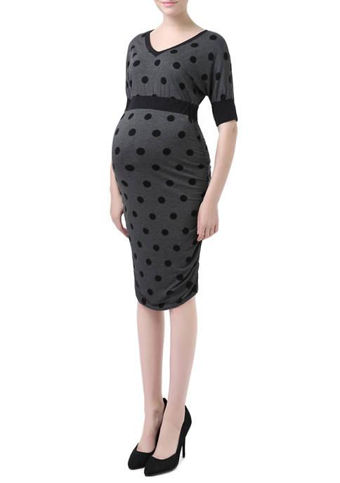 Maternity Batwing Sleeve Polka Dot Dress