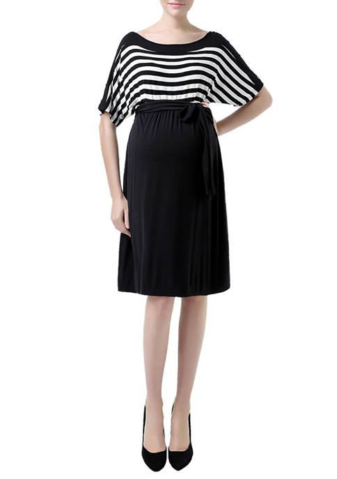 Kimi & Kai Maternity Batwing Striped Dress