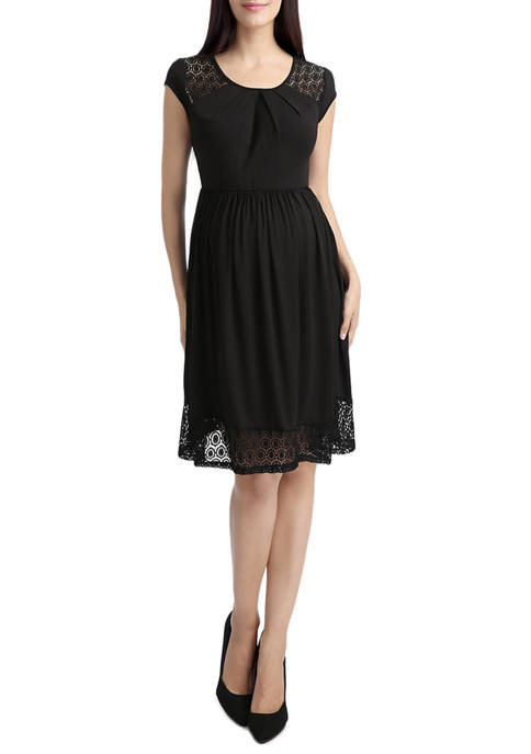 Kimi & Kai Maternity Lacey Accent Skater Dress