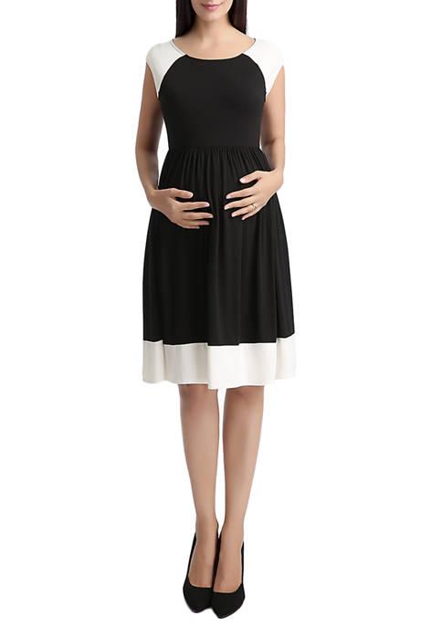 Kimi & Kai Maternity Color Block Skater Dress