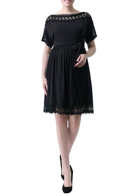 Kimi & Kai Maternity Crochet Lace Trim Dress