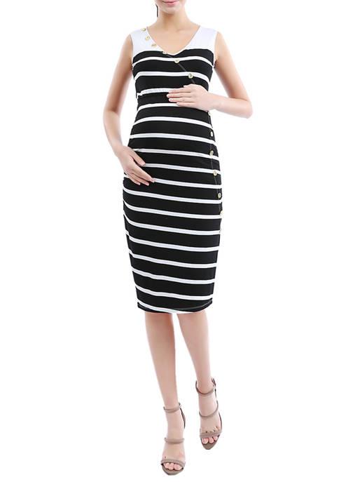 Kimi & Kai Maternity Striped Button Down Dress