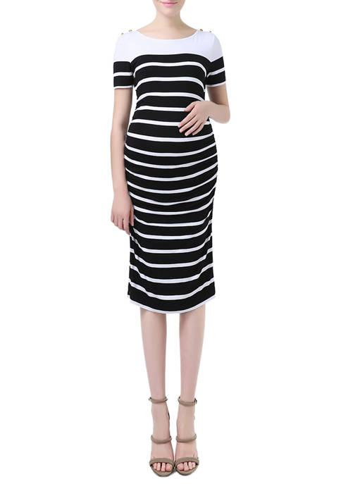 Kimi & Kai Maternity Boat Neck Striped Dress