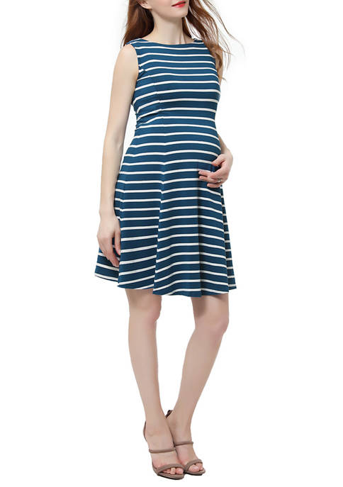Kimi & Kai Maternity Striped Fit and Flare