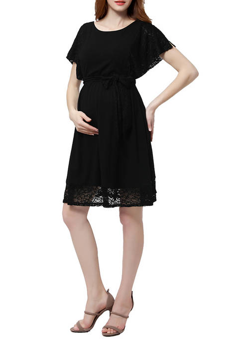 Kimi & Kai Maternity Belted Lace Trim Dress