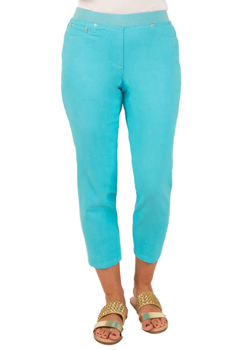 Hearts Of Palm Womens Solid Stretch Denim Jeggings