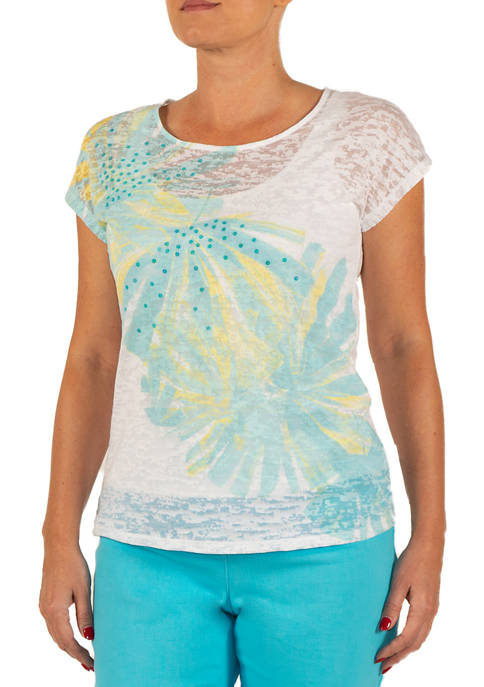 Hearts Of Palm Womens Embellished Dandelion Knit Top