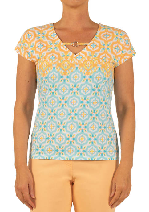 Hearts Of Palm Womens Medallion Print Knit Top