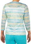 Womens 3/4 Sleeve Tie Dye Knit Top