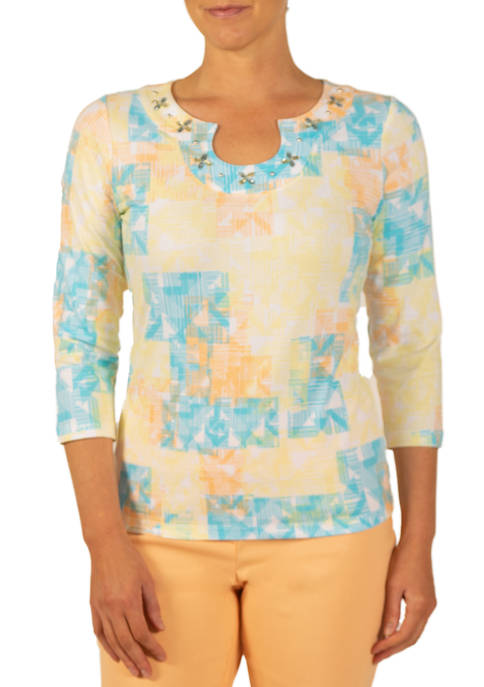 Hearts Of Palm Womens Woodblock Horseshoe Neck Top