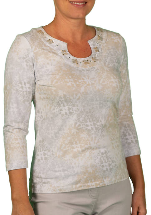 Hearts Of Palm Womens Embellished Horseshoe Neck Top