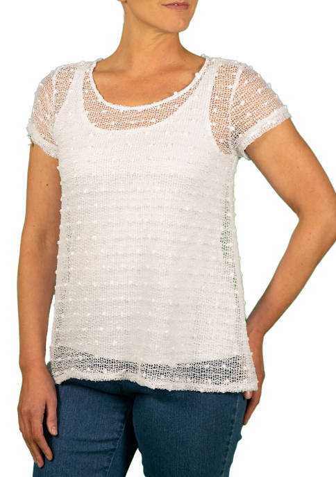 Hearts Of Palm Womens Sheer Knit Top