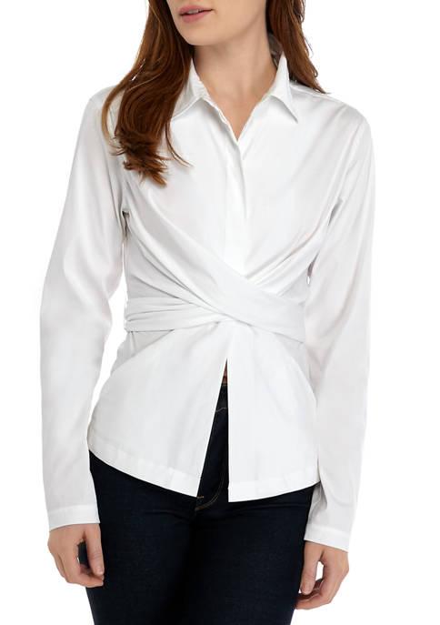 Donna Karan Womens Tie Waist Shirt