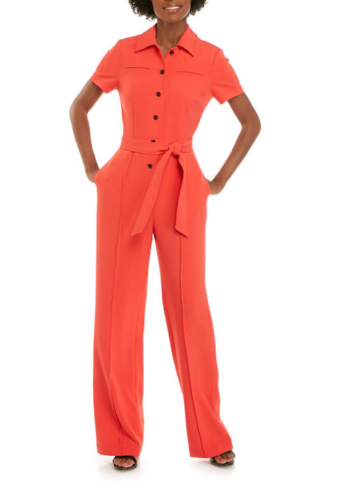 Donna Karan Womens Shirt Collar Jumpsuit