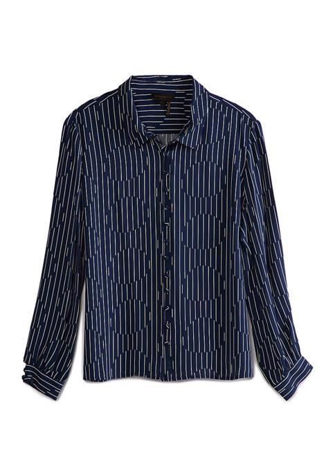 Donna Karan Womens Covered Button Front Woven Shirt