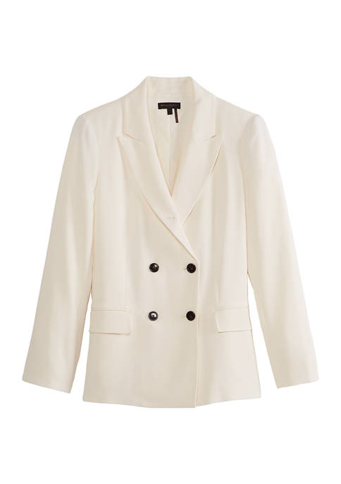 Donna Karan Womens Double Breasted Blazer Jacket