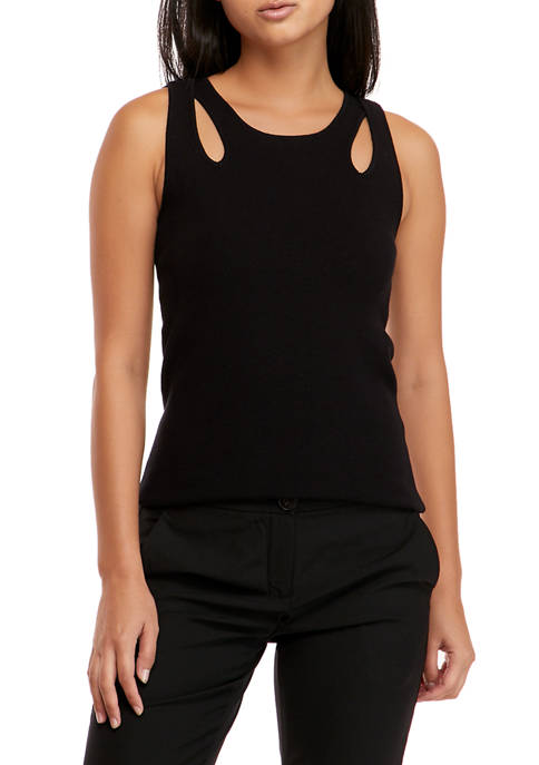 Donna Karan Womens Double Seam Cropped Knit Top