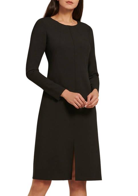 Donna Karan Womens Long Sleeve Double Woven Dress