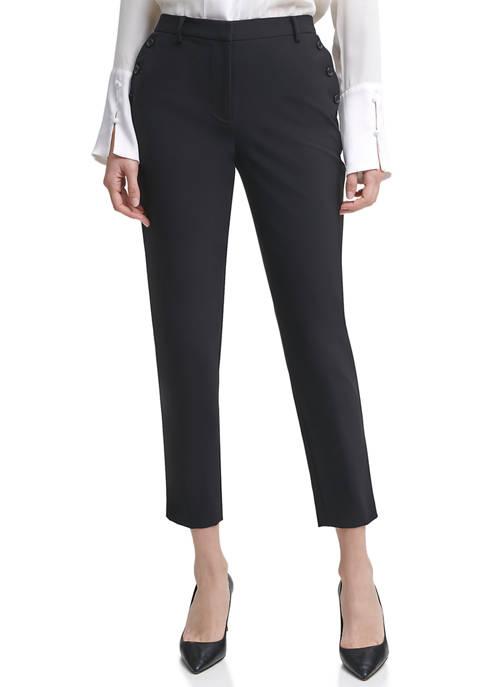 Donna Karan Womens Double Woven Slim Pants