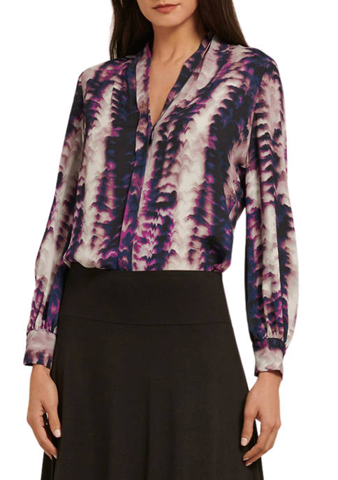 Donna Karan Womens Long Sleeve Wrap Hem Tie
