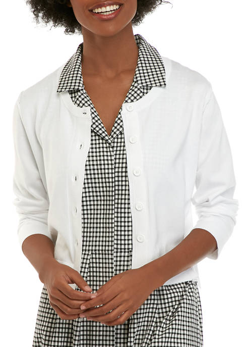 Donna Karan Womens Long Sleeve Button Up Cardigan