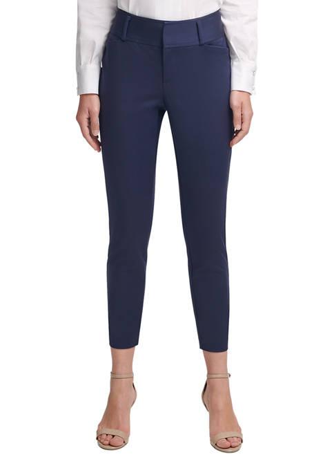 Donna Karan Womens High Waist Straight Leg Pants
