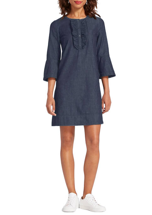 Draper James Womens Chambray Ruffle Shift Dress