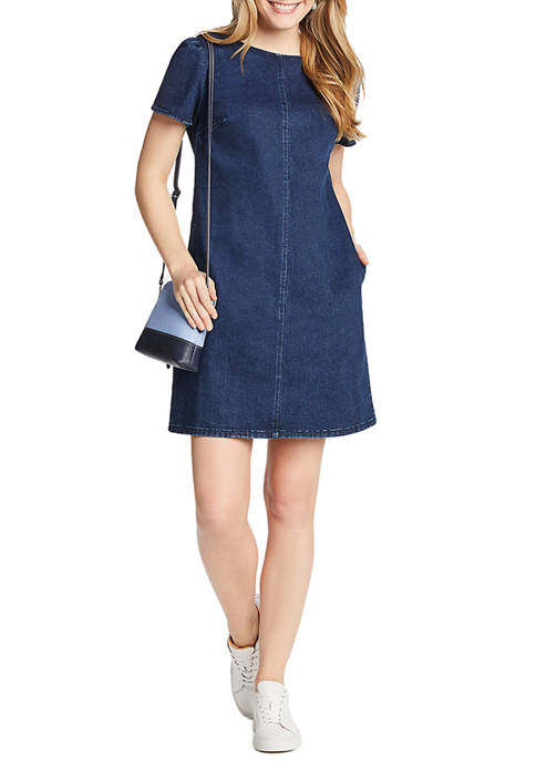 Draper James Womens Denim Shift Dress