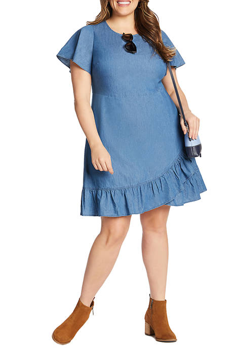 Plus Size Chambray Faux Wrap Dress